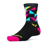 Swiftwick Vision Geo Five Socks - Black/Pink/Blue/Yellow