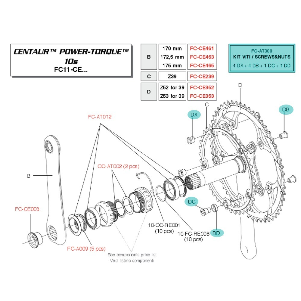 Screws Chainring Campagnolo