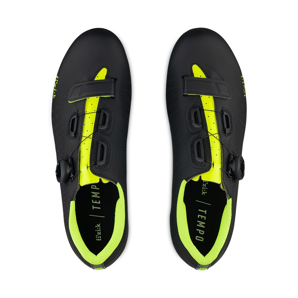 Fizik Tempo R5 Overcurve Road Shoes - Black / yellow Fluo