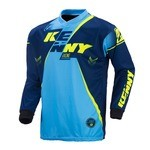 Kenny Track LS Jersey - Blue/Cyan/Neon Yellow