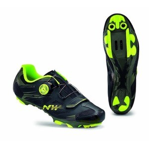 Northwave Scorpius 2 Plus Shoes - Black Military/Yellow Fluo