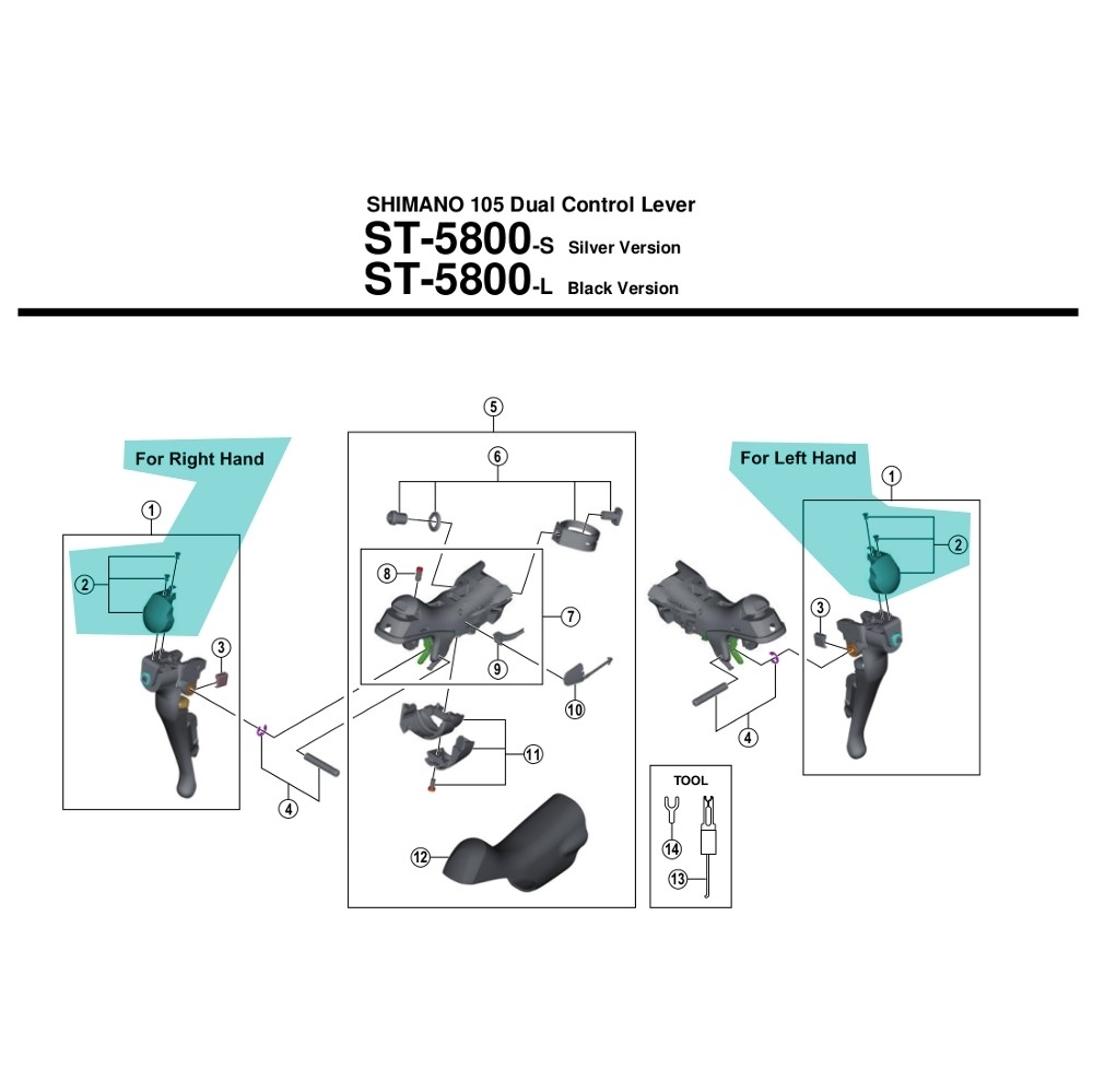 Shimano Spares ST-5800 Left Hand Name Plate L and Fixing Screws