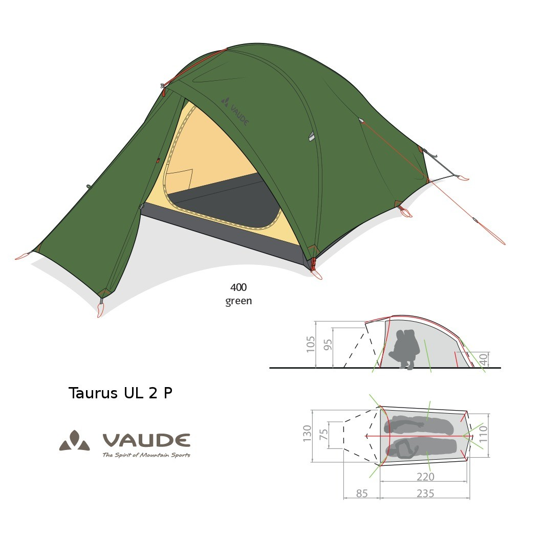 Vaude Taurus UL 2P 12310 [3 Seasons] Tents - Green